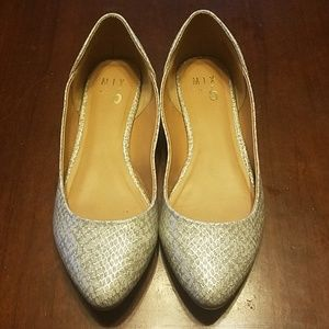 Grey and silver snakeskin flats